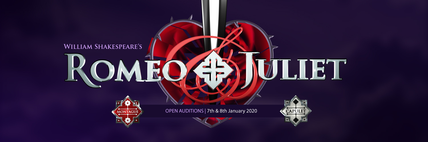 William Shakespeare's Romeo and Juliet. Perfomances: 29th July - 14 August 2020. Open Auditions: 7th and 8th January 2020